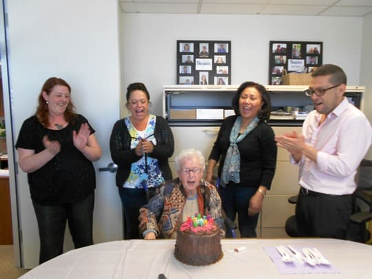 Phyllis is Senior Helpers San Mateo, CA's first client! We had her in the office today celebrating her 98th birthday! She is an amazing woman whose mind is still very sharp.